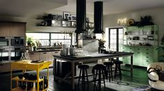 Ruxe Grey Wood And Steel Doors Kicthen Design Feats Misfits Yellow Cart And Cabinets With Steel Fridge Oven Tall Units And Sink 1680×945 New Modern Kitchen Designs By Scavolini