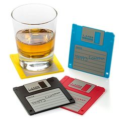 Fabulous, recycled coaster idea — floppy discs!