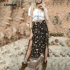 LASPERAL 2017 Summer Women Boho Long Skirt Side Split Maxi Skirt Floral Print Beach Skirts Elegant Female Slim High Waist Skirt