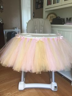 Pink and Gold Highchair Tutu Pink High Chair Tutu by OliviasBasket