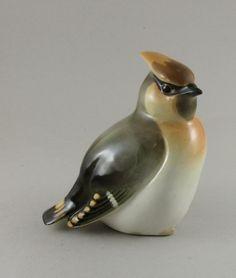 Vintage Lomonosov Waxwing Bird Porcelain Figurine USSR c7