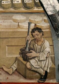 Anonymous - Scene of pharmacy, detail of a century - man with mortar. Medieval Life, Medieval Fashion, Medieval Clothing, Medieval Art, History Of Pharmacy, Medical History, Medieval Crafts, History Timeline, Medieval Manuscript