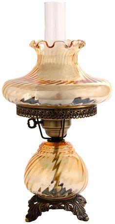 Amber Tamoshanta Swirl Night Light Hurricane Table Lamp -