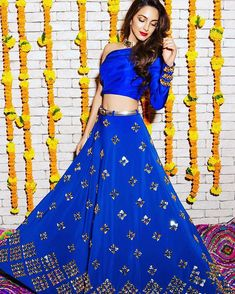 Bollywood Reporter: Kiara Advani beautiful photoshoot at her new movie launch. Indian Wedding Outfits, Indian Outfits, Electric Blue Dresses, Party Kleidung, Party Wear Lehenga, Lehenga Wedding, Dress Wedding, Kiara Advani, Desi Wear