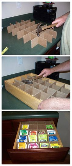 DIY Tea Drawer from Rambles of a SAHM! Great way to store all of my tea if I ever find extra drawer space...