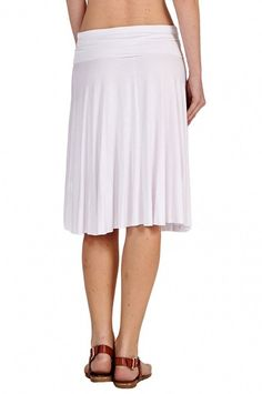 12 Ami Solid Basic Fold-Over Stretch Midi Skirt - Made in USA at Amazon Women's Clothing store:
