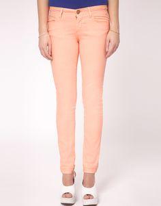 fluro orange skinny jean / river island  I wonder if I could ever pull off colored skinny jeans :)