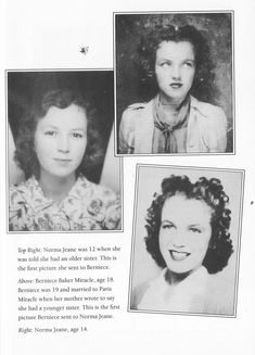 Norma Jeane (Marilyn Monroe), age 12 and 14 and her half-sister Berniece Miracle. Young Marilyn Monroe, Norma Jean Marilyn Monroe, Candle In The Wind, Norma Jeane, California, Old Hollywood, Pin Up, Sisters, Jennifer Lawrence
