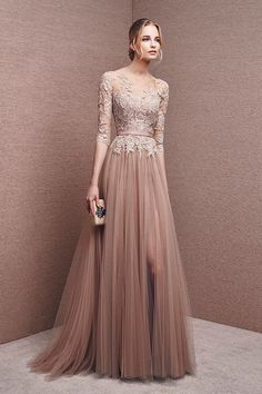 Elegant prom dress long prom dress lace prom dress long sleeve prom dress a line prom dress evening dress charming affordable prom dress 15250 from Athenabridal Long Prom Gowns, Long Bridesmaid Dresses, Formal Evening Dresses, Elegant Dresses, Pretty Dresses, Evening Gowns, Beautiful Dresses, Evening Party, Formal Prom