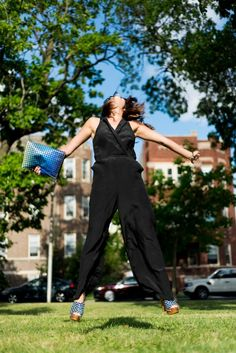 jumping for jumpsuits with @Jena McClendon Gambaccini