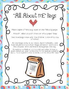 All About Me Bags - Back to School...figured Jamie Seyler would like this....