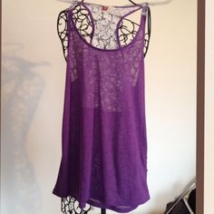 LACE T BACK TANK Cool, stretchy polyester knit tank. 28 1/2 inches long. Pretty purple with white lace back. l.e.i. Tops Tank Tops