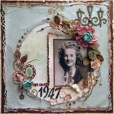 It Was 1947 ~ Heritage portrait page with a circular frame and beaded and distressed edging.