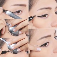 How to Apply Eyeliner - Hacks, Tips, and Tricks for Begginners Our tips on how to apply eyeliner are a game changer. Find out the hacks that actually work in practice and nail your eyeliner like a pro. Pin Up Eyeliner, Eyeliner Hacks, Perfect Eyeliner, Eyeliner Styles, How To Apply Eyeliner, Eyeliner Makeup, Applying Eyeliner, Kohl Eyeliner, Brown Eyeliner