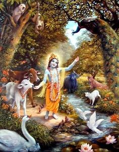 Painting depicting Krishna and the beautiful Yamuna river and the animals and plants and trees of Vrindavan. Hare Krishna, Krishna Radha, Krishna Flute, Krishna Lila, Jai Shree Krishna, Lord Krishna Images, Radha Krishna Pictures, Photos Hd, Lord Krishna Wallpapers