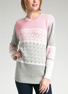 Tribal Sweater by Auburn & Ginger. A knitted sweater with tribal pattern and soft color material. Pair this with flat shoes for a comfy style. Cool sweater with a tribal pattern for everyday use, pair it with black legging for a casual style.    http://www.zocko.com/z/JILES