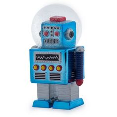 Themed Robot Snow Globe Gifts for Men • Vintage Robots Ornament Glass Snow Globe from The Cool Online Shop Smithers of Stamford See More of Our Cool, Retro Ornaments