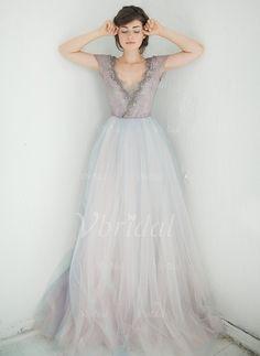 Wedding Dresses - $231.14 - A-Line/Princess V-neck Court Train Tulle Wedding Dress With Lace Appliques Lace (0025093730)