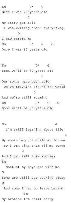 Last Kiss (Pearl Jam) Guitar Chord Chart with Lyrics - http://www ...