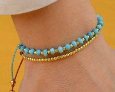 Turquoise bracelet . Gold bracelet por zzaval en Etsy