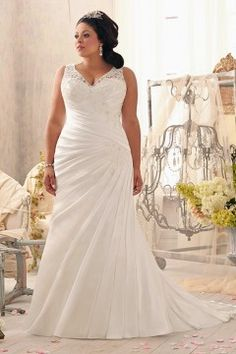 Trumpet/Mermaid V-neck Court Train Satin Fabric Plus Size Wedding Dresses With Ruched Appliques pw50565