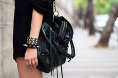 black, studs, and spikes.