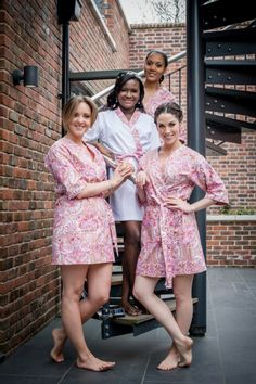 Chic & Romantic Peach Wedding Custom Floal Bridesmaid Bride Dressing Gowns http://www.stuartanningphotography.com/