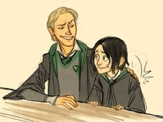 "Lucius and Young Snape by Makani  ""You know, I sometimes think we Sort too soon...."" -Dumbledore"