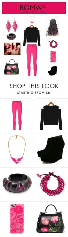 """""""ROMWE- Contest Entry1"""" by hopesparksembers ❤ liked on Polyvore featuring Kenzo, Anna Lou, NOVICA, Casetify, Dolce&Gabbana and Amrita Singh"""