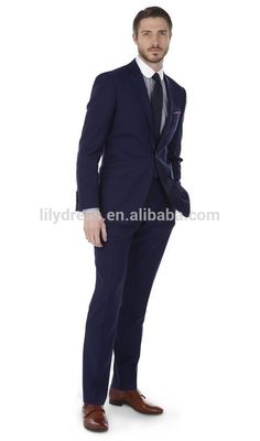 Navy Blue One Button Two Vents Customized Mens Suits For Business Occassion (Jacket+Pants+Tie) BS100 Men Suits Slim Fit Suits
