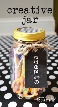 Make a create jar for under $5 - great for gifts or to keep kids busy on rainy days!
