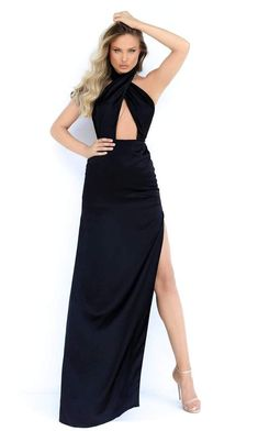 Get ready for everyone to stop and stare when you show up in this dress by Tarik Ediz 50853. Stands out in a sleeveless, cross halter neckline with bodice designed with a sexy front keyhole. The skirt forms a sheath silhouette and has a leg slit. Flatter your finest assets as you enthrall the crowd in this Tarik Ediz dress. Slit Dress, Sheath Dress, Dance Dresses, Prom Dresses, Long Dresses, Long Sleeve Evening Gowns, Trumpet Dress, Gowns With Sleeves, Mermaid Gown