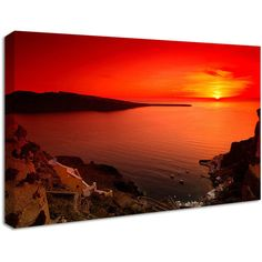 NuCasa Red And Orange Sunset Canvas Print (855 CZK) ❤ liked on Polyvore featuring home, home decor, wall art, backgrounds, orange wall art, modern home decor, red wall art, red home decor and orange home accessories