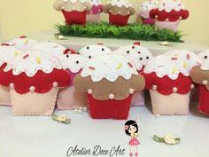Chaveiros cupcakes em feltro