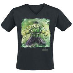 """#TShirt uomo nera """"Age Of Ultron - Hulk Art"""" degli #Avengers con scollo a V ampia stampa frontale."""