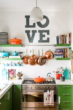 Green Kitchen, Open Shelving, Love the art and color!