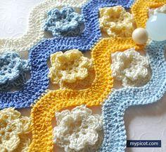 Crochet Flower-Wave Stitch Tutorial - (mypicot)