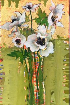Small Paintings, Floral Paintings, Oil Paintings, Red Poppies, White Flowers, Abstract Flower Art, White Anemone, Old Art, Fine Art Gallery