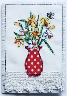 Fabric appliqué card, free motion machining; Viv Aspinall