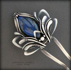 Blue lotus hairpin hair flower от KLDesignerJewelry на Etsy