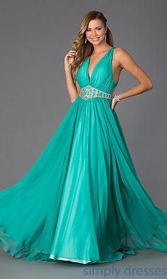 V-Neck Floor Length Sleeveless Dress by Rachel Allan at SimplyDresses.com