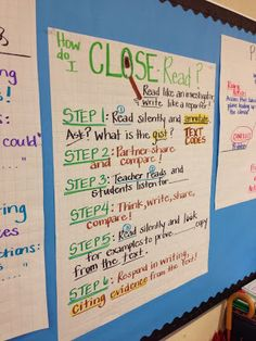 Step by Step 21 Cool Anchor Charts To Teach Close-Reading Skills Ela Anchor Charts, Reading Anchor Charts, Reading Lessons, Reading Skills, Guided Reading, Study Skills, Math Lessons, Teacher Hacks, Teacher Stuff