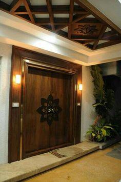 Villa @ Koncept ambience by Samanth gowda, Architect in Hyderabad ,Telangana, India Door Design Interior, Foyer Design, Main Door Design, House Doors, False Ceiling Design, Ceiling Design, Home Entrance Decor, Entrance Design, Front Door Design