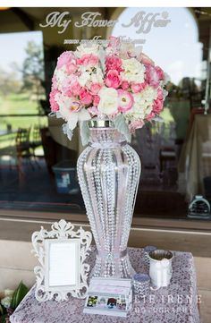 Flowers by www.myfloweraffair.com.  Pink roses, pink rananculus, white hydrangeas, white orchids, dusty miller, crystal vase... reception wedding flowers,  wedding decor, wedding flower centerpiece, wedding flower arrangement. www.myfloweraffair.com can create this beautiful wedding flower look.  Photography by Julie Irene. Location: Mission Viejo Country Club