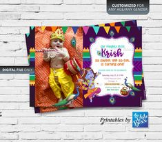 Krishna (Hindu God) themed Birthday Invite / Invitation card printable for Baby Boy - Any Age Baby Boy Birthday, Daughter Birthday, Invitation Cards, Invite, Krishna Birthday, Krishna Hindu, Diwali Party, I Love My Son, Indian Gods