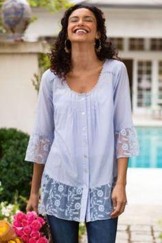 St. Remy Silk Shirt - Women's Silk Shirt, Scoop Neck Shirt, Pastel Silk Shirt | Soft Surroundings