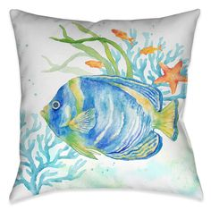 Sea Life Angelfish Indoor Decorative Pillow