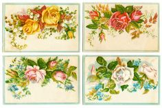 Free Digital Images: Vintage Floral Soap Cards   Just Something I Made