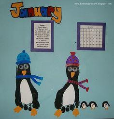 Handprint and Footprint Arts & Crafts: Footprint Penguins for January- Handprint Calendar 2