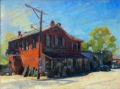 Patrick Saunders Fine Arts - Cityscape Painting - Oil on Canvas - Uptown, Augusta